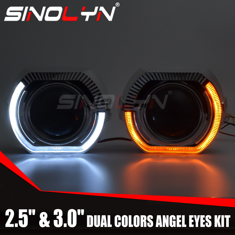 Sinolyn Angel Eyes LED Projector Headlight Lenses Bi-xenon Lens Turn Signal Running Lights For H4 H7 Cars Accessories Retrofit