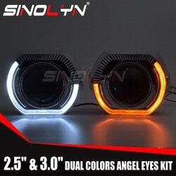 Sinolyn angel eyes led projetor farol lentes bi-xenon lente sinal de volta luzes running para h4 h7 carros acessórios retrofit