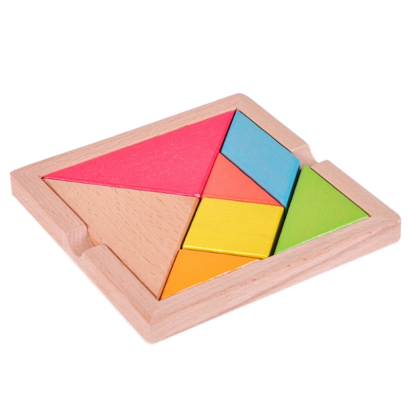 Colorful Wooden Tangram For Kids Seven Geometric Shapes Pieces Puzzle Educational Toy
