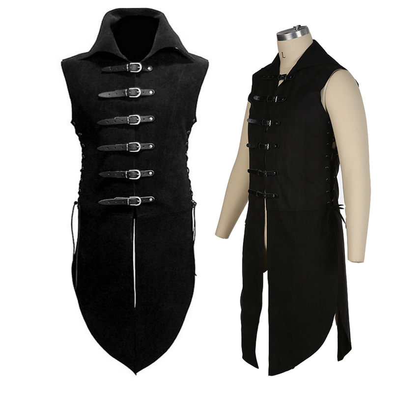 CosZtkhp  New Man's Fantasy Clothing Medieval Tunic Renaissance Vest Up Outerwear Eif Warrior Coats Outerwear Pirate Clothing