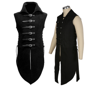 CosZtkhp New Man's Fantasy Clothing Medieval Tunic Renaissance Vest Up Outerwear Eif Warrior Coats Outerwear Pirate Clothing(China)