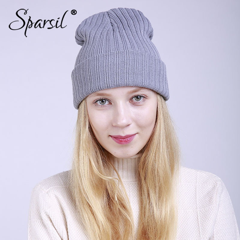 Sparsil Women Autumn Winter Knitted Cap Solid Color Straight Stripe Warm Double Layer Beanies Hip Hop Colorful Bonnet Hat Female