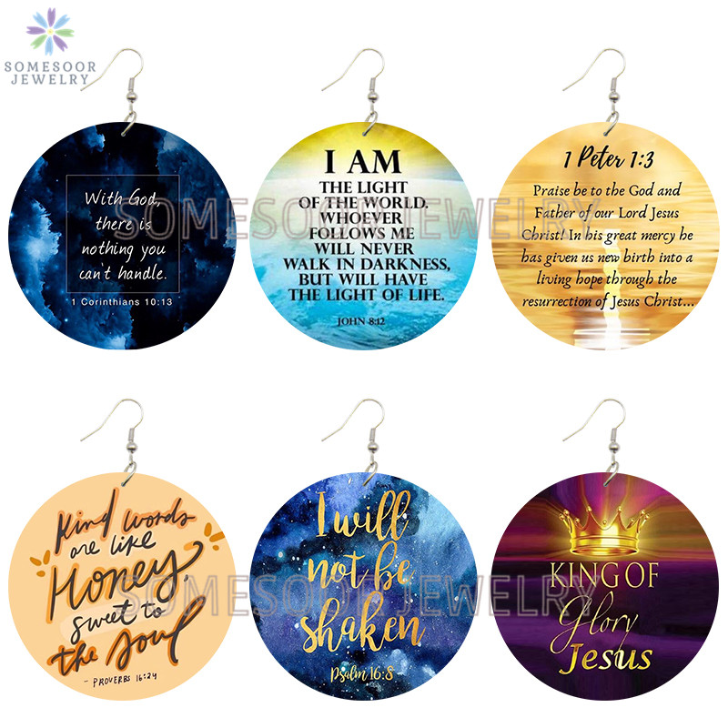 SOMESOOR I Love Jesus Christian Sayings Printed Wooden Drop Earrings Bible motto With God Glory Writings Loops For Women Gifts