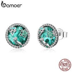 Bamoer autêntico 925 sterling silver oceano tropical peixe parafuso prisioneiro brincos para as mulheres verde cz prata esterlina jóias presente sce496