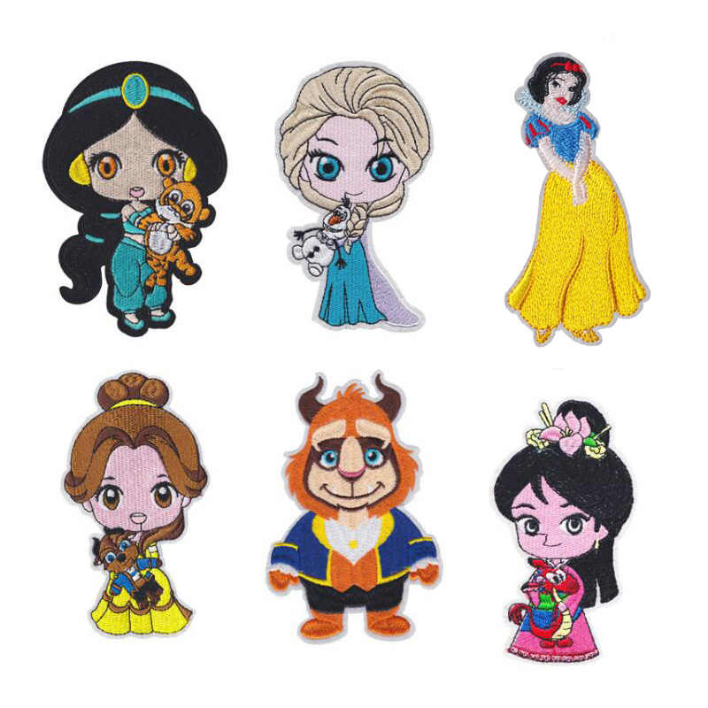 1Pcs Cartoon Prinses Elsa Mulan Geborduurde Ijzer Op Patches voor Kleding Stickers Badges Applique DIY Anime Patches Kledingstuk