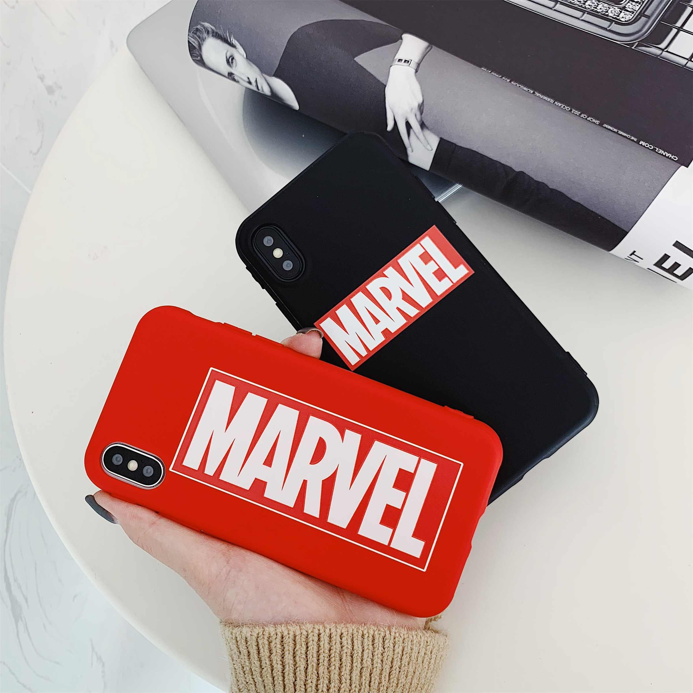 Para iphone X XR XS MAX cubierta para iphone XI 8C 11 6S 6 7 8 Plus América tendencia funda para teléfono móvil marca Marvel con diseño de TPU