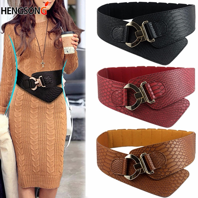 Retro Wide Belt For Dress Jacket Loose Wide Corset Belt Rocking Chain Belt Gold Metal Rivet Buckle Belts For Women Cummerbunds