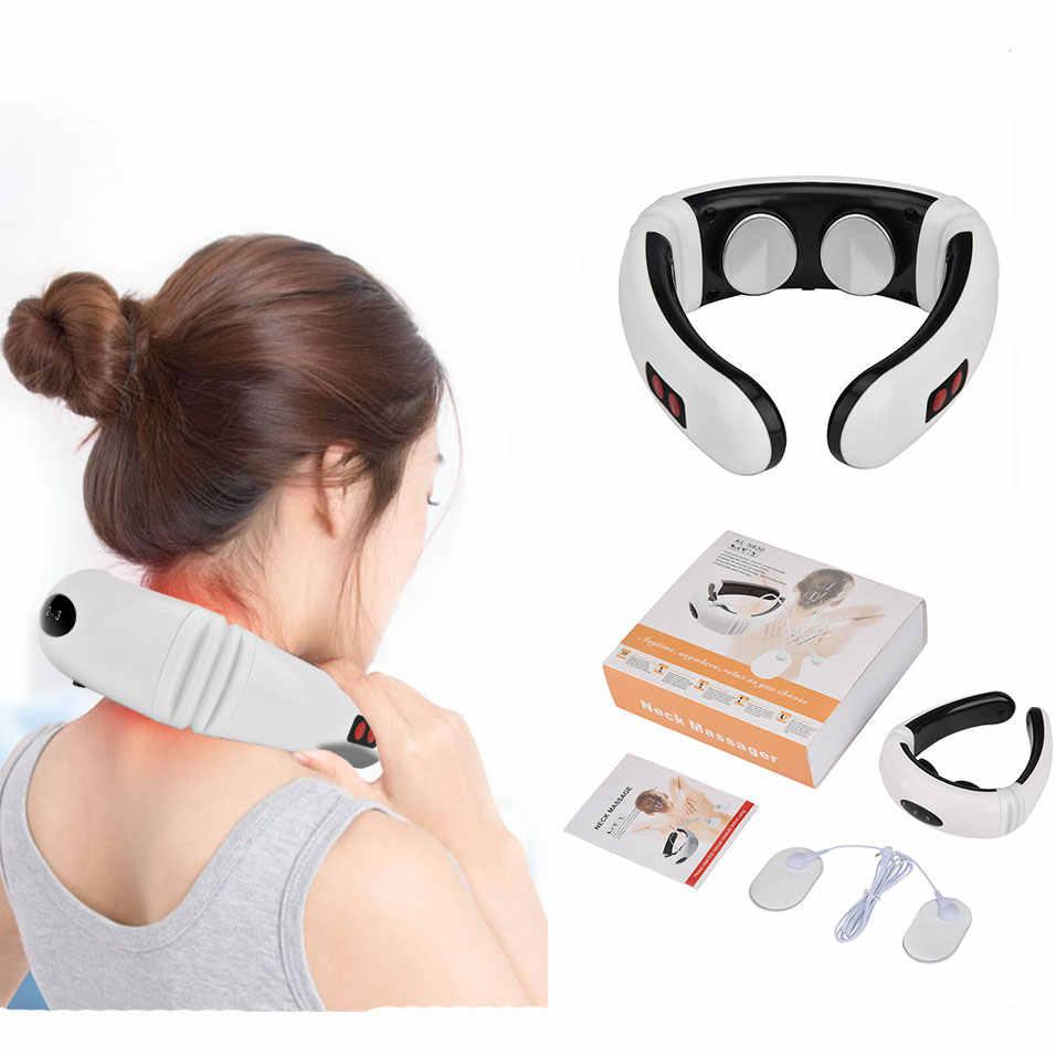 Elektrische Neck Massager Pulse Zurück 6 Modi Power Control Weit Infrarot Heizung Schmerzen Relief Zervikale Physiotherapie Massager