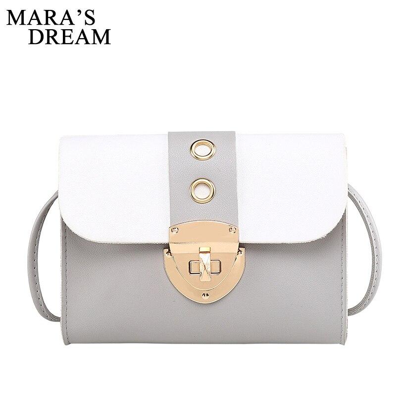 Mara's Dream 2019 New Color-matching Women's Hit Color Textured Hardware Lock Pouch Single Shoulder Diagonal Bag