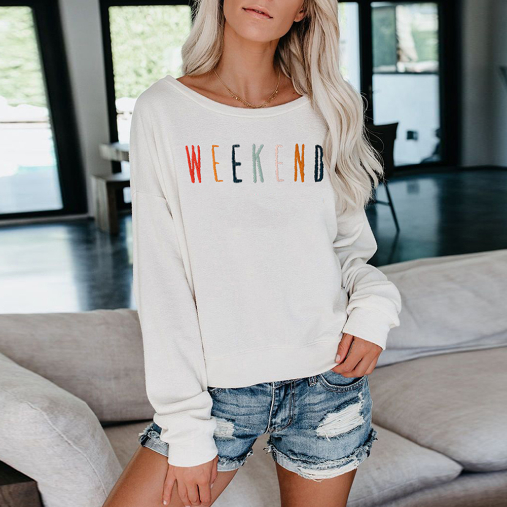 Women Sweatshirt Pullover Autumn Long Sleeve Embroidered Letters Hoodies O Neck Casual Ladies White Black Blue Sweatshirts D30