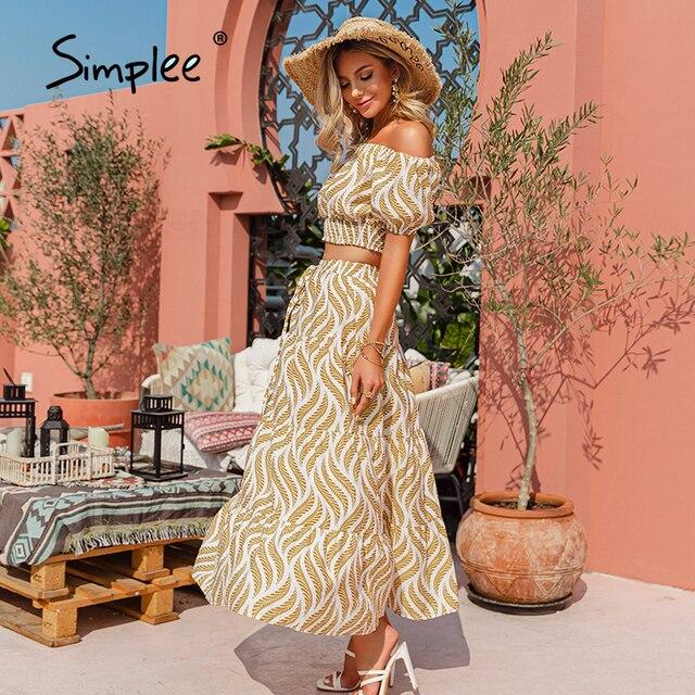 Simplee Holiday off shoulder women dress sets Elastic high waist puff sleeves dresses Stripe split sexy beach dress summer 2021 6