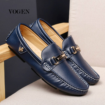 Leather Men Shoes Luxury Brand Casual Slip on Formal Loafers Men Moccasins Italian Black Blue Male Driving Shoes