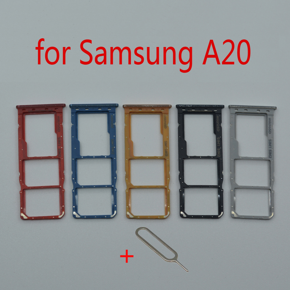SIM Card Tray Slot Holder For Samsung A20 Galaxy A205 A205F A205FN A205G A205GN Original Phone Micro SD Card Adapter Repair Part