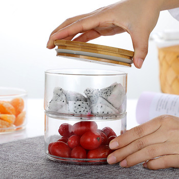 Glass Jars and Lids Creative Stackable Moisture-proof Seasoning Storage Bottle Kitchen Food Fruit Salad Bowl Christmas Candy Jar 4