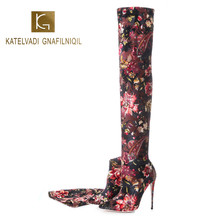 KATELVADI 2020 Woman Long Boots Over Knee High 12.5CM  Heel Heeled Pointy Sexy elasticity T Stage Show K-584
