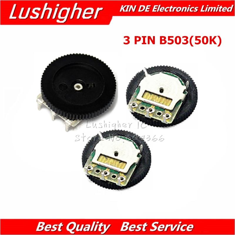 5pcs Gear Tuning Potentiometer B503 50K 3pin 16*2mm Dial Potentiometer