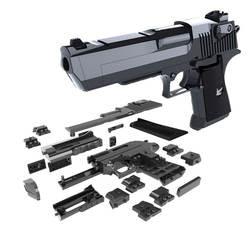 DIY строительные блоки игрушечный пистолет пустыня Орел сборка игрушка модель игры в мозге может огонь пули (Mung Bean) с инструкцией книги