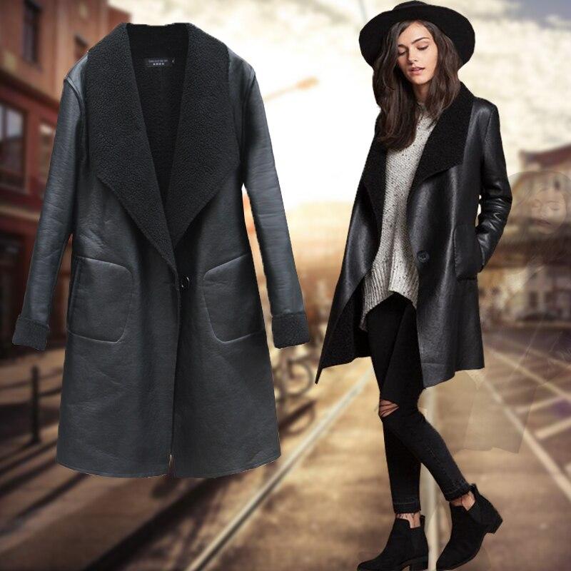 Европа Ms большой размер свободный 2019 Женская осенне-зимняя одежда новое пальто из искусственной кожи утолщение мутоновая Шуба с длинными р...