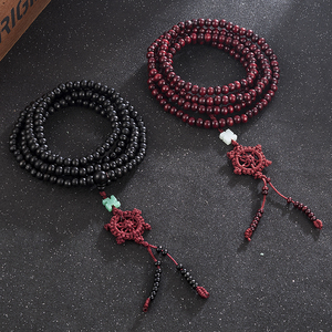 Image 3 - 2 Color Natural Fragrant Sandalwood Beads Bracelet Buddhist Meditation Prayer Beads Mala Bracelet Hand Necklace