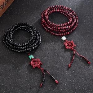 Image 3 - 2 farbe Duftenden Natürlichen Sandelholz Perlen Armband Buddhistischen Meditation Gebetskette Mala Armband Hand Halskette