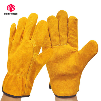 Cowhide two-layer welding gloves wear-resistant short full leather non-slip garden driver gloves insulation labor protection kopilova 1pairs welding gloves cow suede lengthen fire proof sputtering protection gloves wear resisting for finger protection