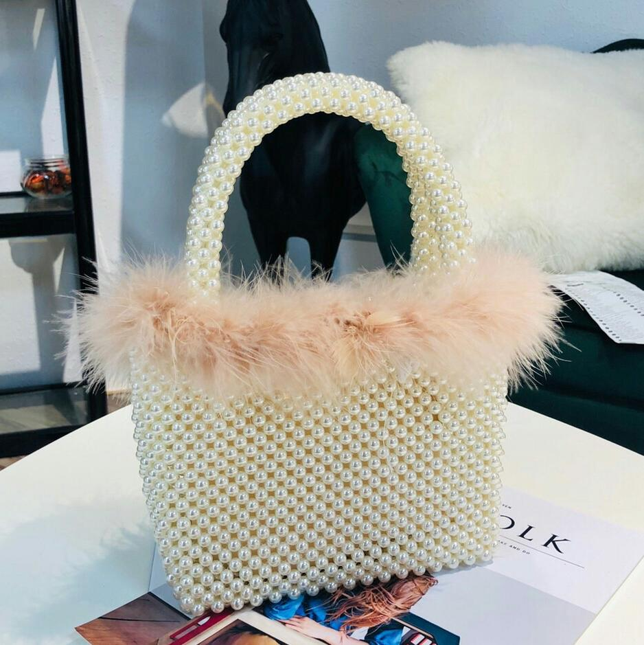Elegant Female Pearl Tote Bag 2019 Fashion New High Quality Woven Pearl Women's Designer Handbag Party Shoulder Messenger Bag
