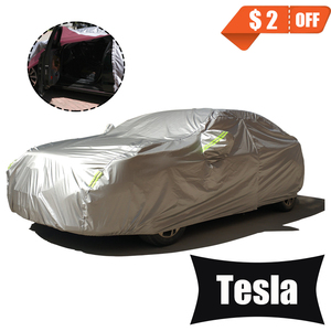 Image 1 - Full Car Covers For Car Accessories With Side Door Open Design Waterproof For Tesla Model 3 Model S Model X 2017 2018 2019
