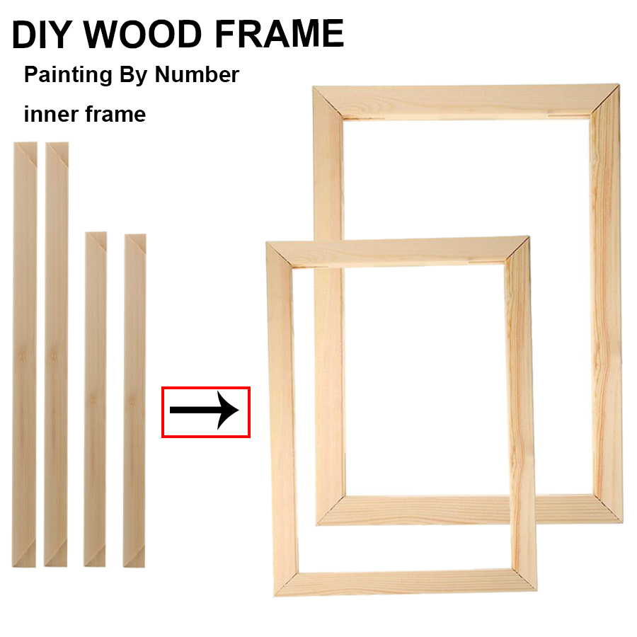 Wood Photo Frame for DIY Oil Painting by Numbers Abstract Paint Wall Sticker Coloring Posters Hanger inner frame home decor|Frame|   - AliExpress