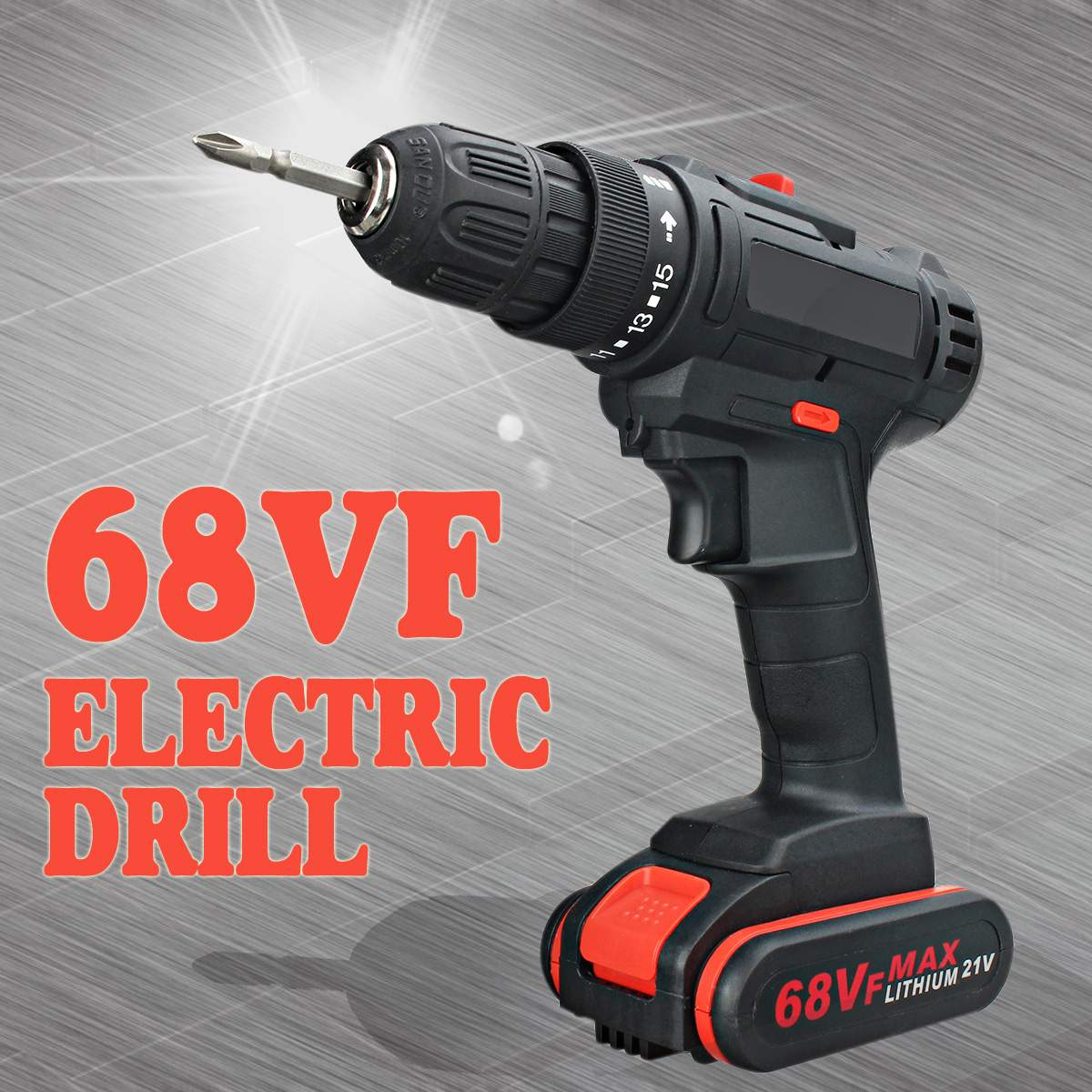 Becornce Electric Drill 68VF Cordless Lithium-Ion Drill/Driver Rechargable Adjustable 3200r/min 2 Speed Hand Drill With Battery