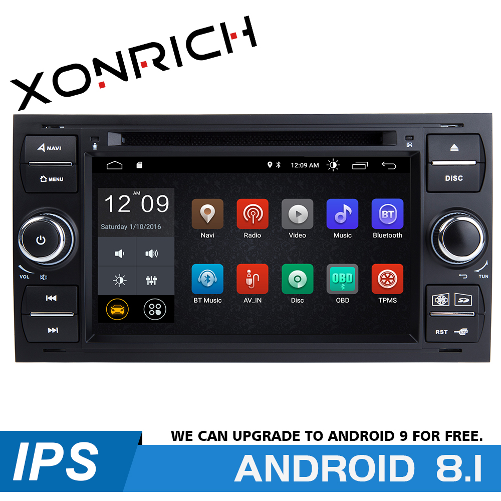 IPS 2 din Android 8.1 Car Radio Multimedia Player For <font><b>Ford</b></font> <font><b>Focus</b></font> 2 3 mk2 Mondeo 4 Kuga Transit Connect S-<font><b>MAX</b></font> <font><b>C</b></font>-<font><b>MAX</b></font> GPSNavigation image