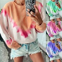 2019 Autumn Hoodies Women Triangular Printing Gradually Changing Color Long-sleeved Loose Sweatshirt Female Casual Coat