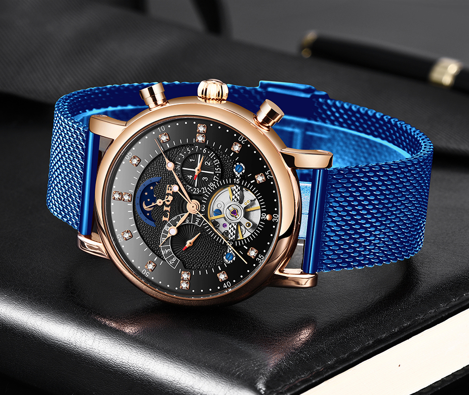 H7a0f4194f5d04451b793253ade7d5a61o LIGE Gift Mens Watches Brand Luxury Fashion Tourbillon Automatic Mechanical Watch Men Stainless Steel watch Relogio Masculino