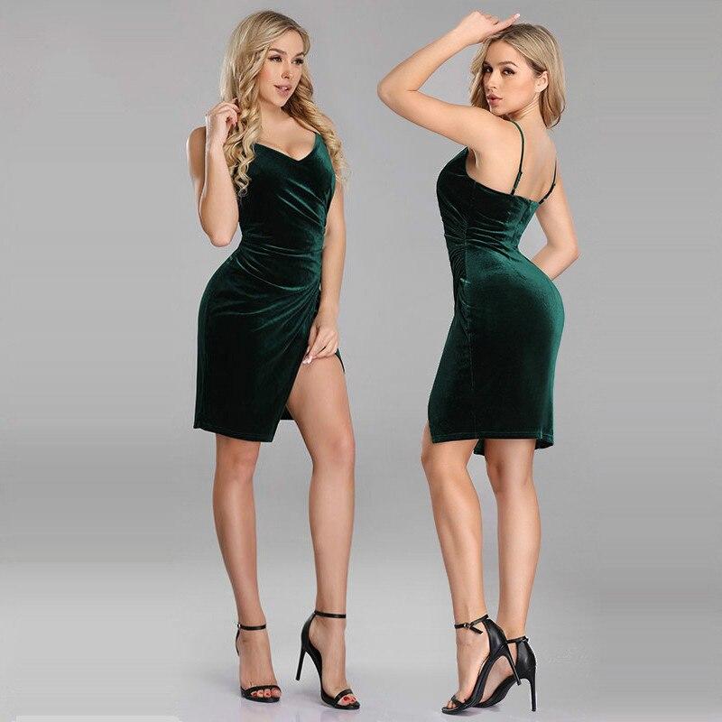 It's Yiiya Prom Dresses V-Neck Spaghetti Strap Velour Straight Prom Dresses 2020 C411 Sleeveless Knee-Length Vestidos De Gala