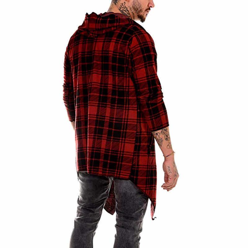 מעיל ארוך גברים גותי תעלת מעיל גברים קרדיגן slim ארוך גלימת סוודר ברדס סרוג משובץ אופנה מעיל סתיו steampunk