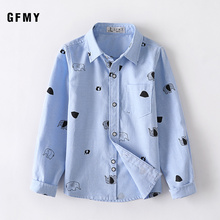 GFMY 2019  Autumn Leisure Oxford Textile Cotton Full Sleeve Blue boys Shirt Comfortable and Wearable Can Be Used as a Coat