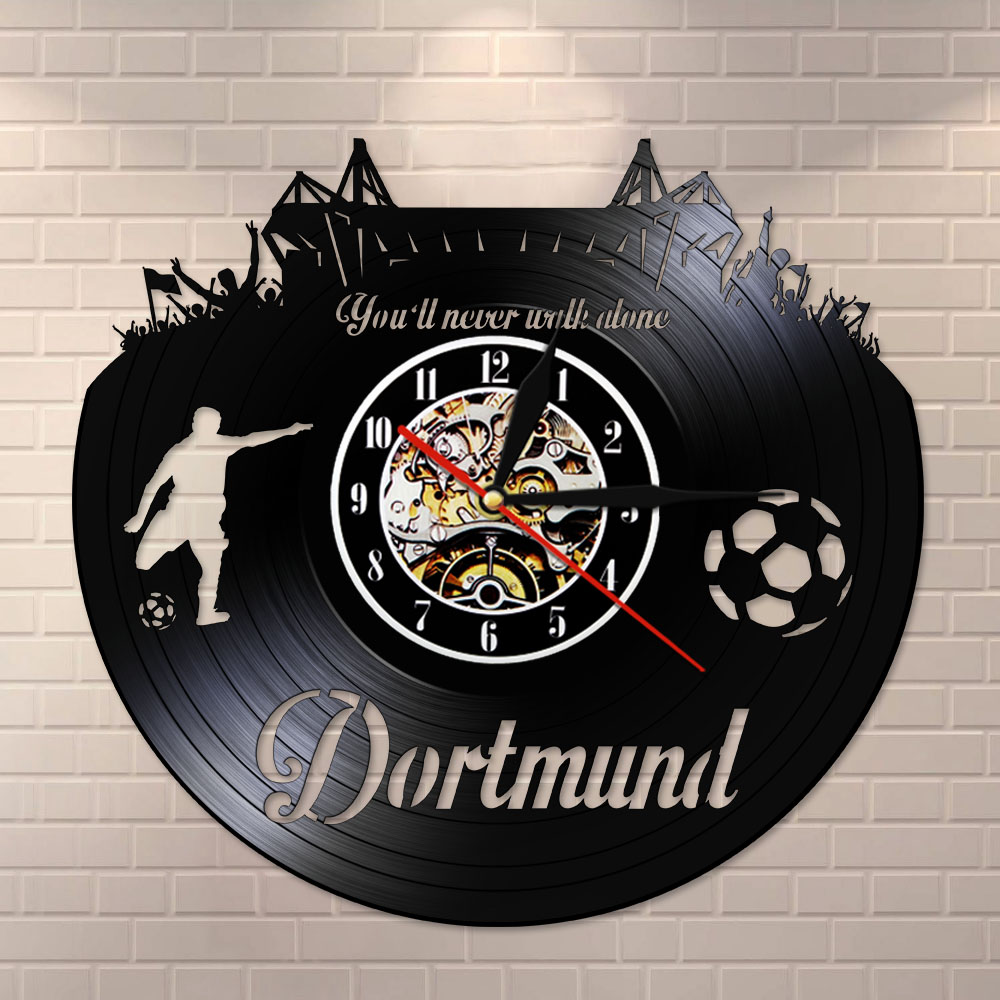 Dortmund City Skyline Wall Clock German States Football Stadium Fans Cellebration Champions Wall Art Vinyl Record Wall Clock
