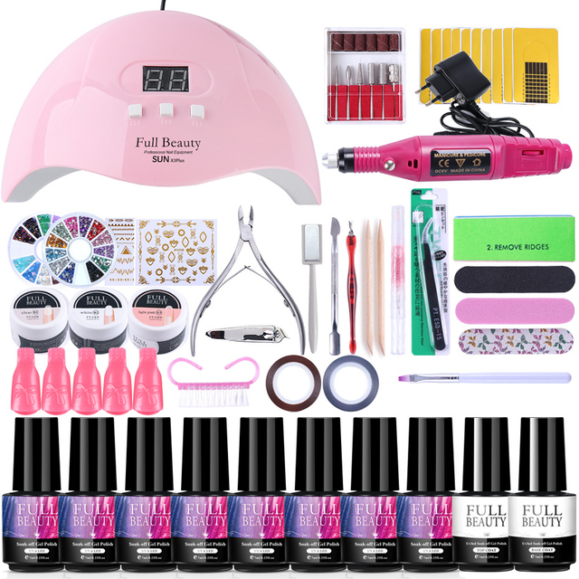 $ US $7.37 Nail Set for Manicure Kit UV Led Lamp With Electric Drill Machine Nail Gel Polish Varnish Pedicure Nail Extension Tools TR1581