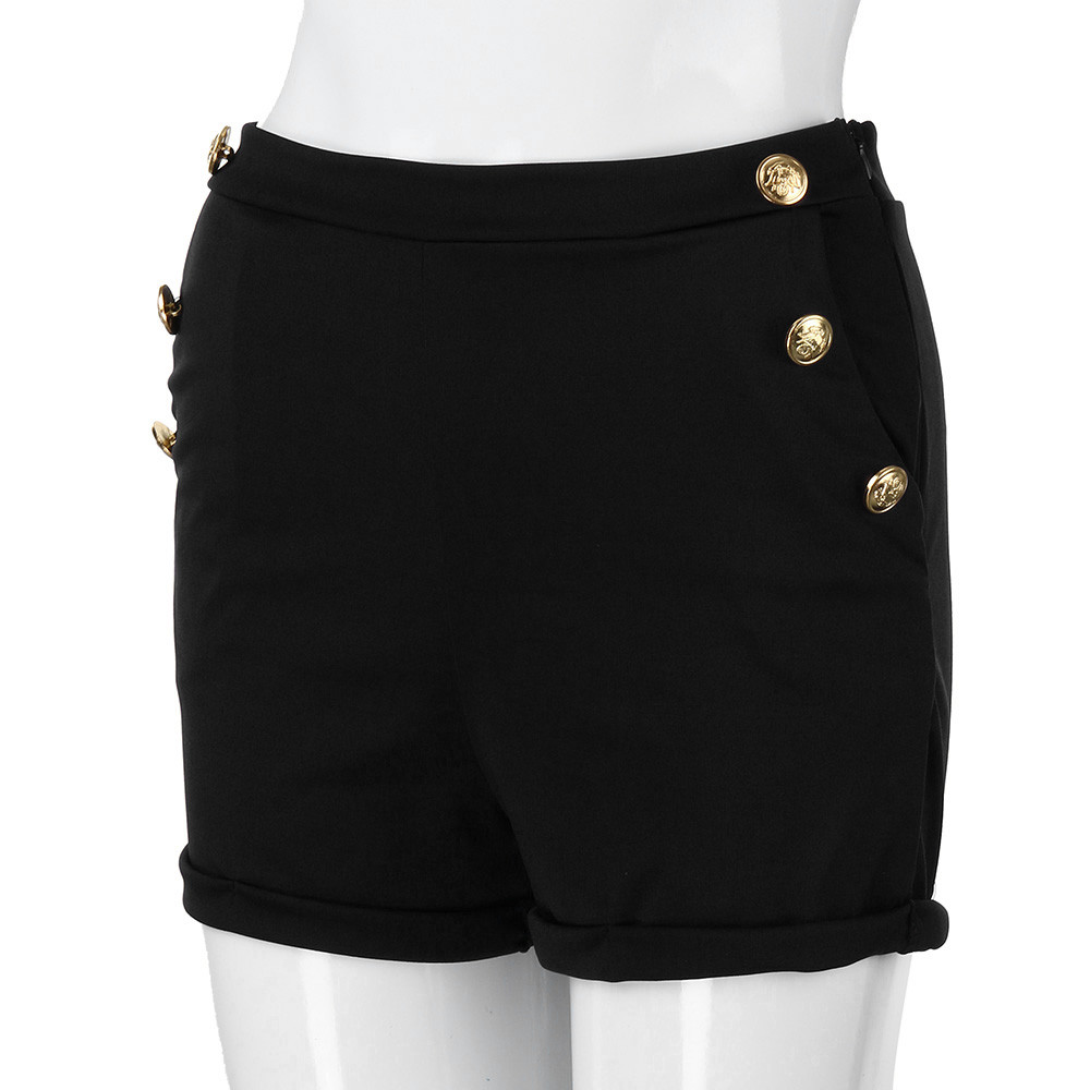 2020 Summer Short Pants Contrast Binding  Gray Side Split Elastic Waist Patchwork Casual  White
