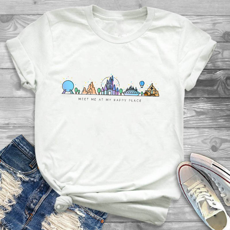 Women Cartoon Ear Castle Travel Holiday Print Fashion Short Sleeve Womens Female Graphic T Shirt T-Shirt Tee Shirt Tees T-shirts