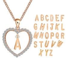 Mode simple tendance amour incrusté diamant pendentif collier nom de famille coeur lettre chandail chaîne fabricant approvisionnement en gros can b