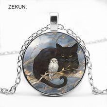 LIAOZEKUN.2019 / Big Sale Retro Cat Bird Glass Pendant Necklace Men and Women with The Same Jewelry