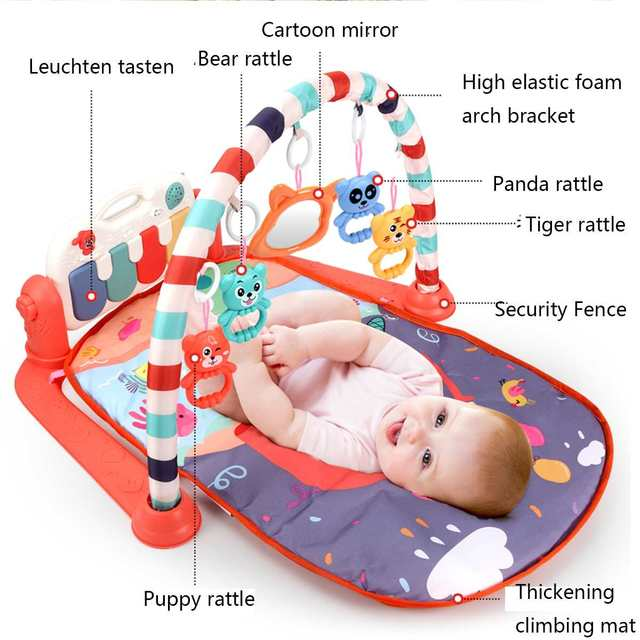 3 In 1 Baby Infant Gym Play Mat Fitness Music Piano Hanging Toy Projector Early Educational
