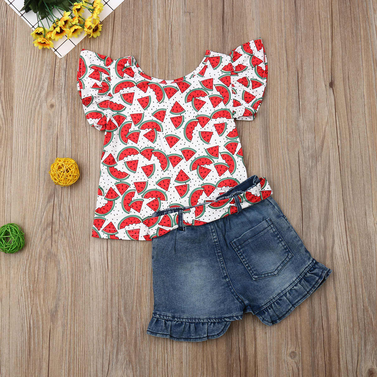 Emmababy 2019 Nieuwe Merk Peuter Kids Baby Meisjes Cartoon Tops T-shirt Denim Shorts Outfits Kleding