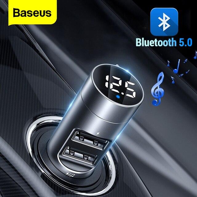 Baseus Caricabatteria Da Auto Bluetooth 5.0 Lettore Trasmettitore FM Modulatore Handsfree Ricevitore Audio Auto MP3 3.1A Dual USB Caricatore Rapido