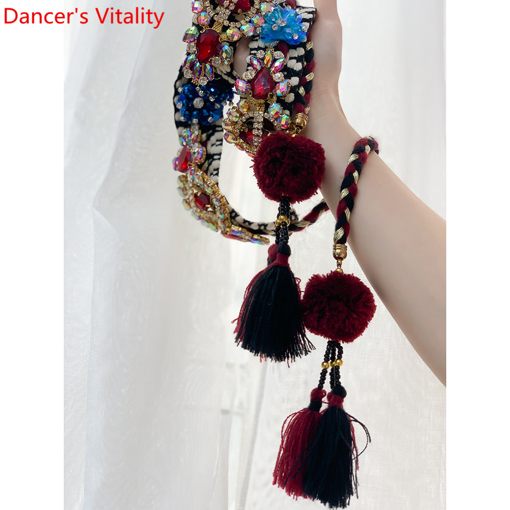 New Arrival Women Belly Dance Fashion Rhinestone Tassel Belt Matching Waist Chain Oriental Indian Dancing Performance Accessorie
