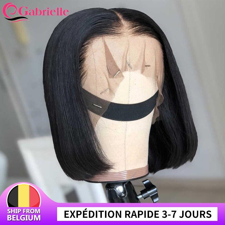 Короткий парик на сетке Боб, бразильские прямые парики на сетке спереди, натуральные человеческие волосы для женщин, прямые волосы на прямо...