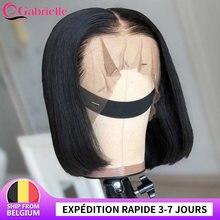 Bob curto fechamento do laço peruca brasileira em linha reta perucas da parte dianteira do laço natural cabelo humano para as mulheres blunt corte bob frontal perucas gabrielle