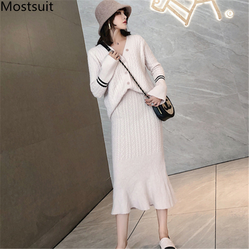 Knitted Women Two Piece Skirt Sets Suits Long Sleeve Cardigan And Mermaid Skirt Outfits Lady Runway Knitting Skirt Suits 2019 39