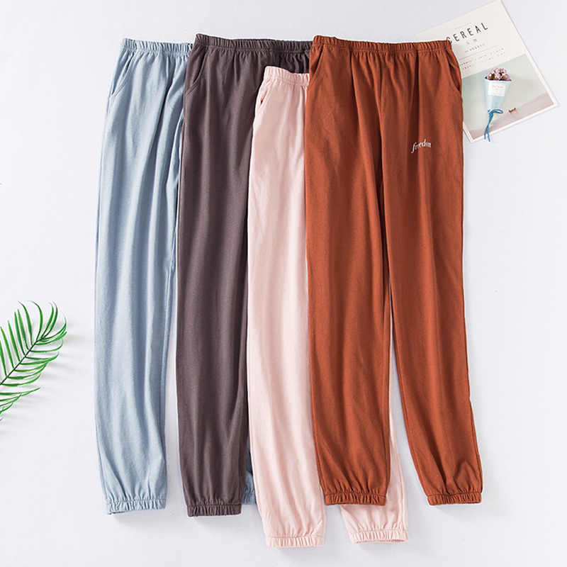 Men's&Women sleep bottom pajama pants solid thin long lounge pants cotton sleepwear male&female home pants