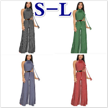 Women One piece jumpsuit Sexy Sleeveless Halter Lace up Striped straps Wide leg Siamese pants 2019 new Summer cut out neck wide leg halter jumpsuit